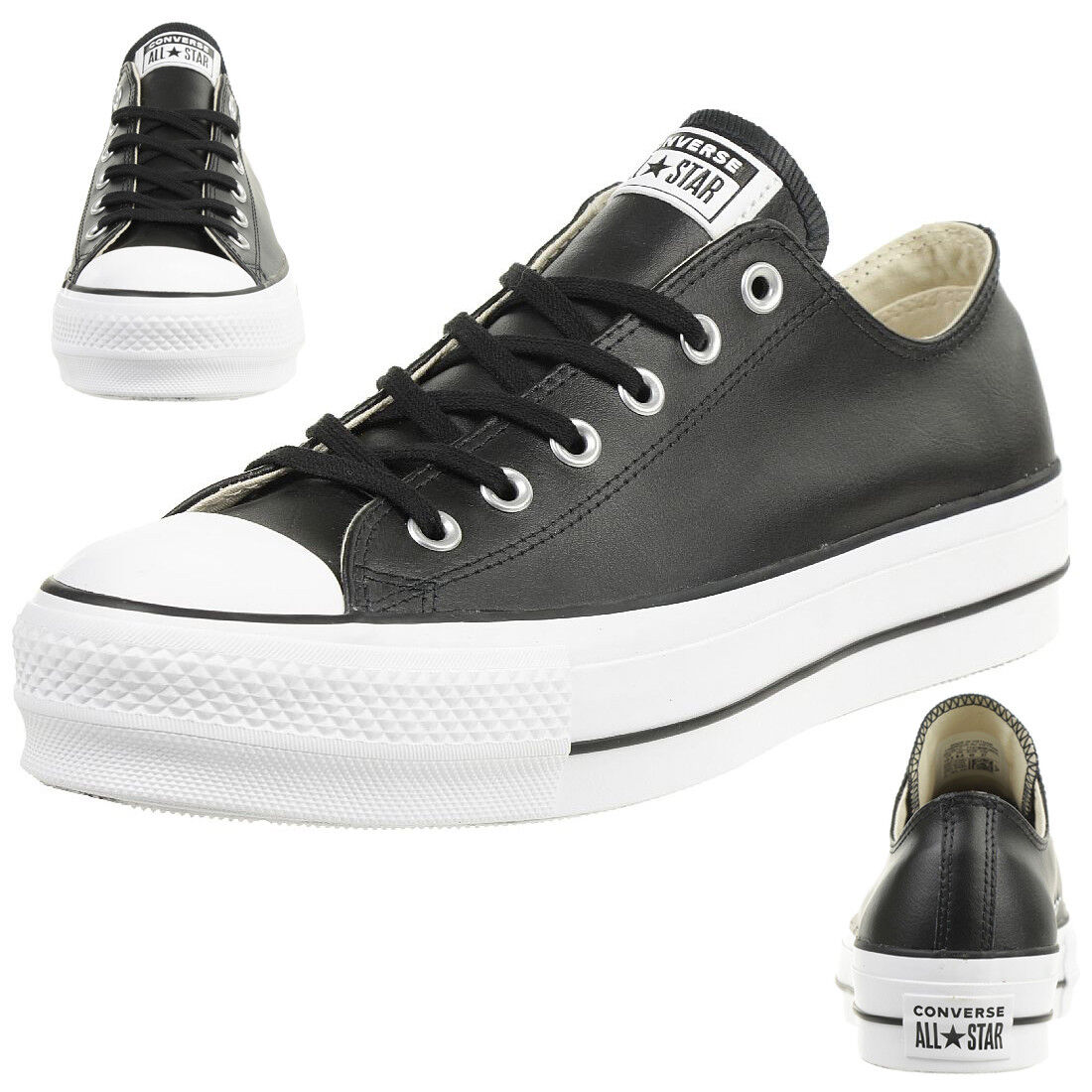 2cd208de7dbf8 Converse CTAS Lift Clean Ox Womens Black White Leather Trainers - 7 ...