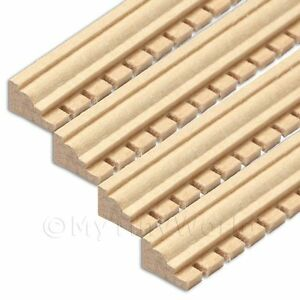 4 X Dolls House Miniature Wood Decorative Moulding Style 3