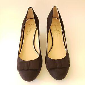 Jessica-Simpson-Sorina-Wedge-Pump-Heel-Shoes-Black-Micro-Suede-Bow-Womens-US-8-M