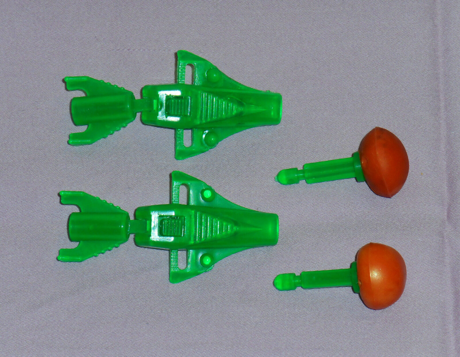 Vintage Mego Micronauts GALACTIC WARRIOR GREEN MISSILE & LAUNCHER LOT x2 sets