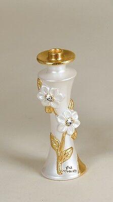 Originale Candeliere A 1 Fiori Cristalli Candelabro Via Veneto Ceramica Avorio Foglia Oro Elegante Nell'Odore