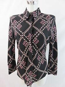 Rena estampada talla Klass 40 Lange pura seda de seda de Blusa Blusa kragen Top 38 Blusa YdqUYw0