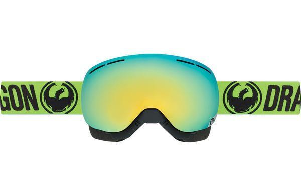 Dragon X1's SM-16026 Break Green- Smke gold Ion +1 pink Lens Snowmobile Goggles