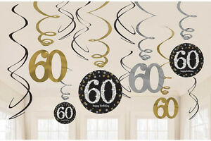 Image Is Loading 12 X 60th Birthday Hanging Swirls Black Silver