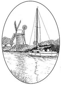 Oval-frame-Windmill-amp-Boat-scene-Unmounted-Rubber-Stamp-SA-6080