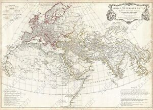 GIANT VINTAGE MAP OF EUROPE THE ANCIENT WORLD OLD ANTIQUE STYLE - Map of the world antique style