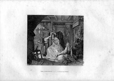 Stampa antica ELISIR d' AMORE FATTUCCHIERA MAGA 1852 Old Print Engraving