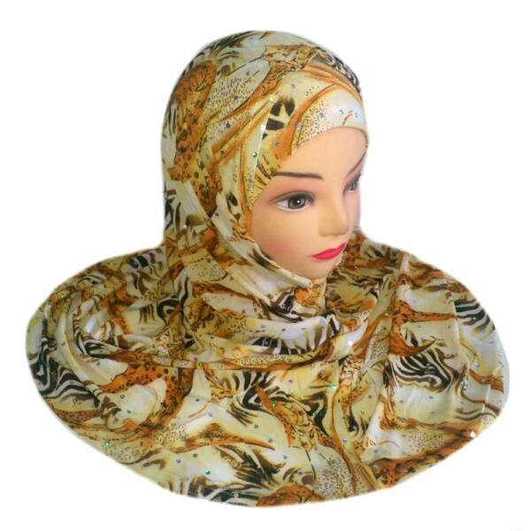 2 Pezzi Foulard Islam Copricapo Hijab Niqab Khimar Materiali Accuratamente Selezionati