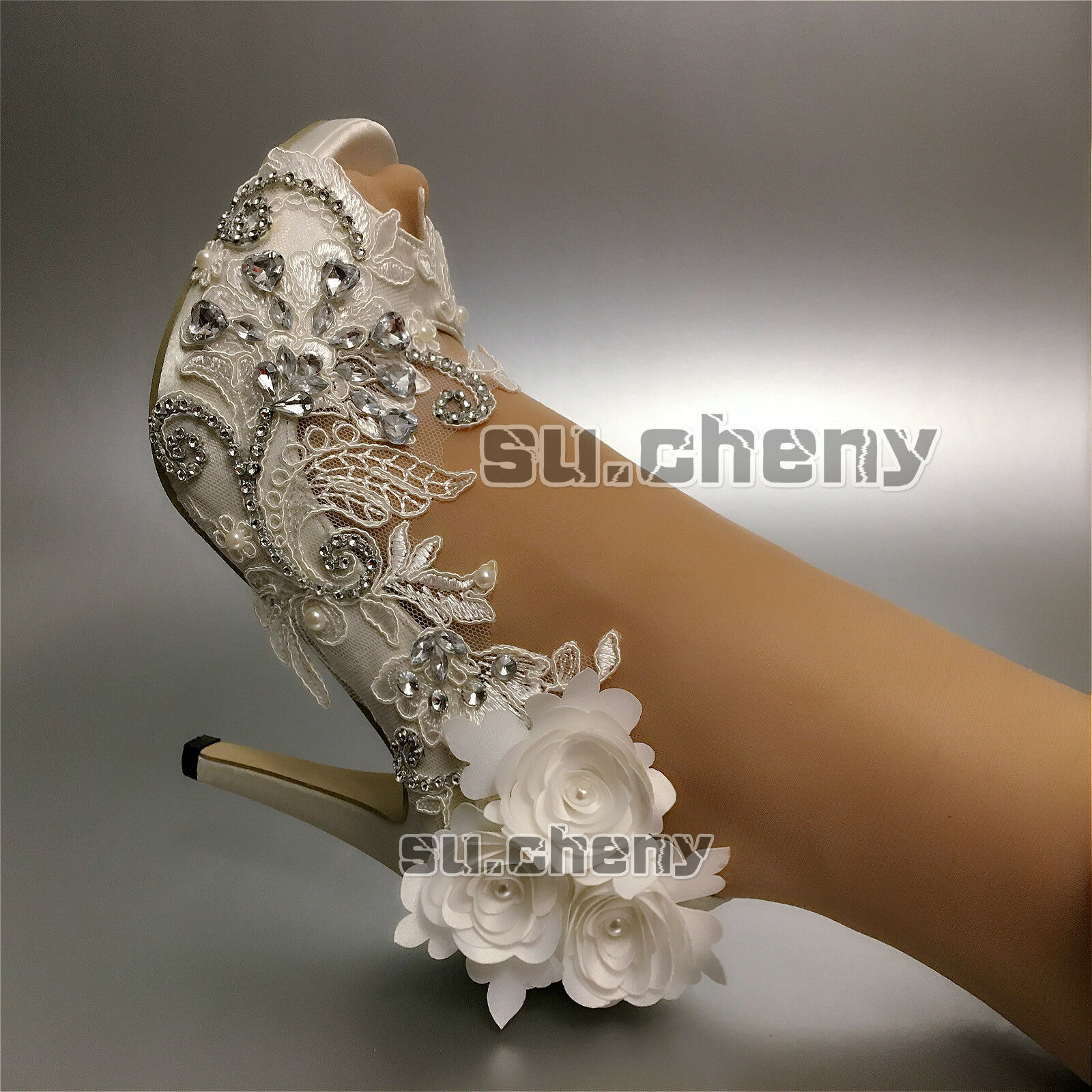Su.cheny Heels satin Weiß ivory rhinestones peep toe lace Wedding Bridal schuhe