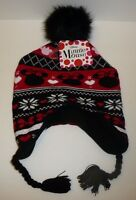 Minnie Mouse Child's Beanie Hat With Hearts Love Black Red Walt Disney Size 4-16