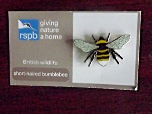 RSPB-GNaH-short-haired-bumblebee-Metal-Pin-Badge-on-New-Card-NOC