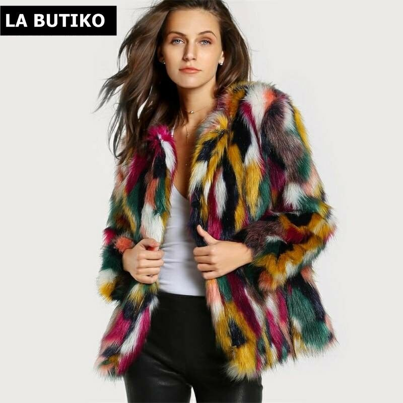 LA BUTIKO Women elegant Fur Coats Multicolor Faux Fur Coat Multicolor Long sleev