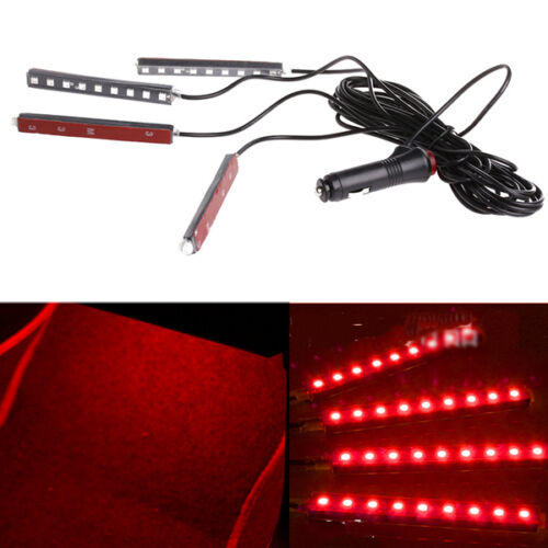 Car SUV Interior Footwell Floor Decor Atmosphere Light 4x 9 LED Red Neon Strips