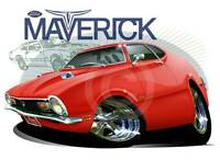 1970 Ford Maverick Muscle Car Tshirt Auto 7110- Automotive Art