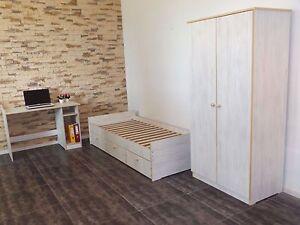 Jugendzimmer-Kinderzimmer-komplett-Set-Jugendbett-Schreibtisch-Schrank-weis-NEU