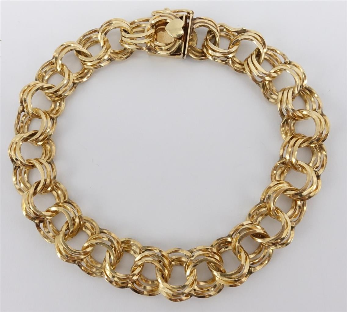 14K yellow gold ladies 8  triple circle chain link bracelet 18.3g