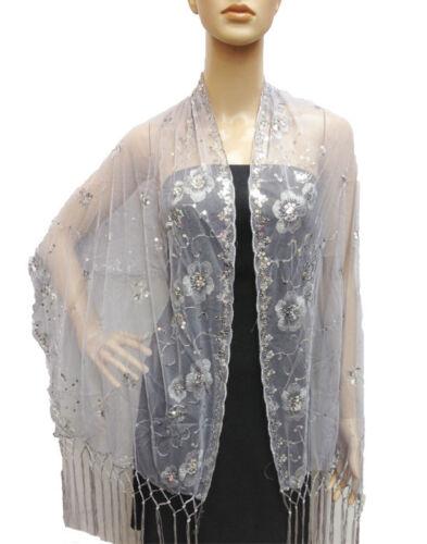 Wedding Sequin Sheer Wrap Glitter Shiny Evening Scarf Shawl Vine Flower Daisy