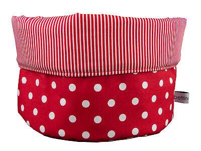 Stoffkörbchen Ø 18 cm Punkte Streifen rot weiß Brotkorb
