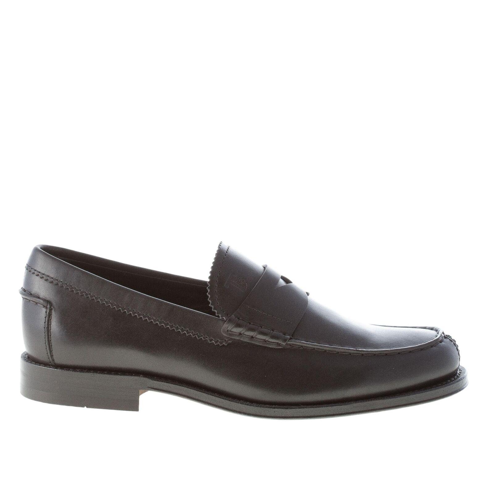 TOD'S Hombres Zapatos Negro Semi Brillante Mocasín Cuero Penny XXM0RO00640D90B999