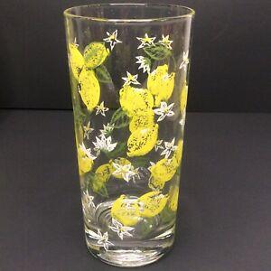 Mid-Century-Cera-Drinking-Glasses-4-Set-Yellow-Lemons-Vintage-Tumbler-Lemonade