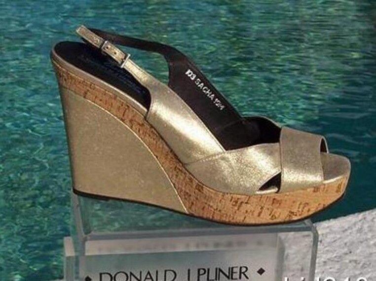 Donald Pliner Couture Metallic Leather Wedge Shoe New Cork Cork New Mid Sole 10 $275 NIB 86b28e