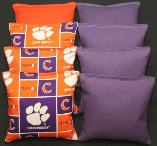 8 All Weather Cornhole Bean Bags made w CLEMSON TIGERS fabric Resin Waterproof