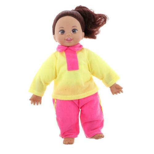 Cute Lifelike Vinyl Baby Doll Schoolgirl Newborn Girl Doll in Yellow Clothes