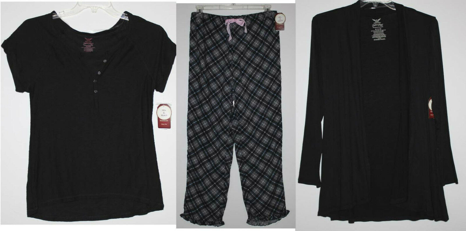 NWT Women's M 8 10 3 Pc. Pajamas PJ Lounge Set Top Cardigan Plaid Pants