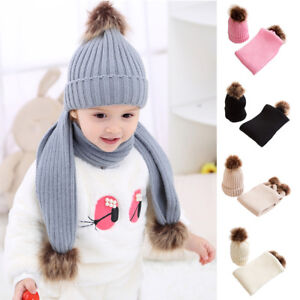 f73f731aa Details about Kids Baby Boys Girls Scarf Hat Set Knitted Winter Warm Hats  Soft Beanie Cap