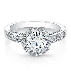 1.57 Ct Round Real Moissanite Engagement Ring 18K Solid White Gold ring Size 6 7