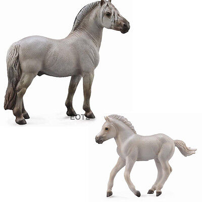 NEW CollectA 88632 88633 Grey Fjord Horse - Set of 2 - Stallion & Foal Horses