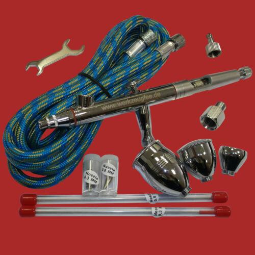 Airbrush Pistole Komplett Set Double Action+Düsen:0.3+0.5+0.8 mm+Zubehör BD-183K