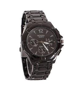 New Stylish Sober Wrist Watch for Men Black Dial - SMCONFBLA