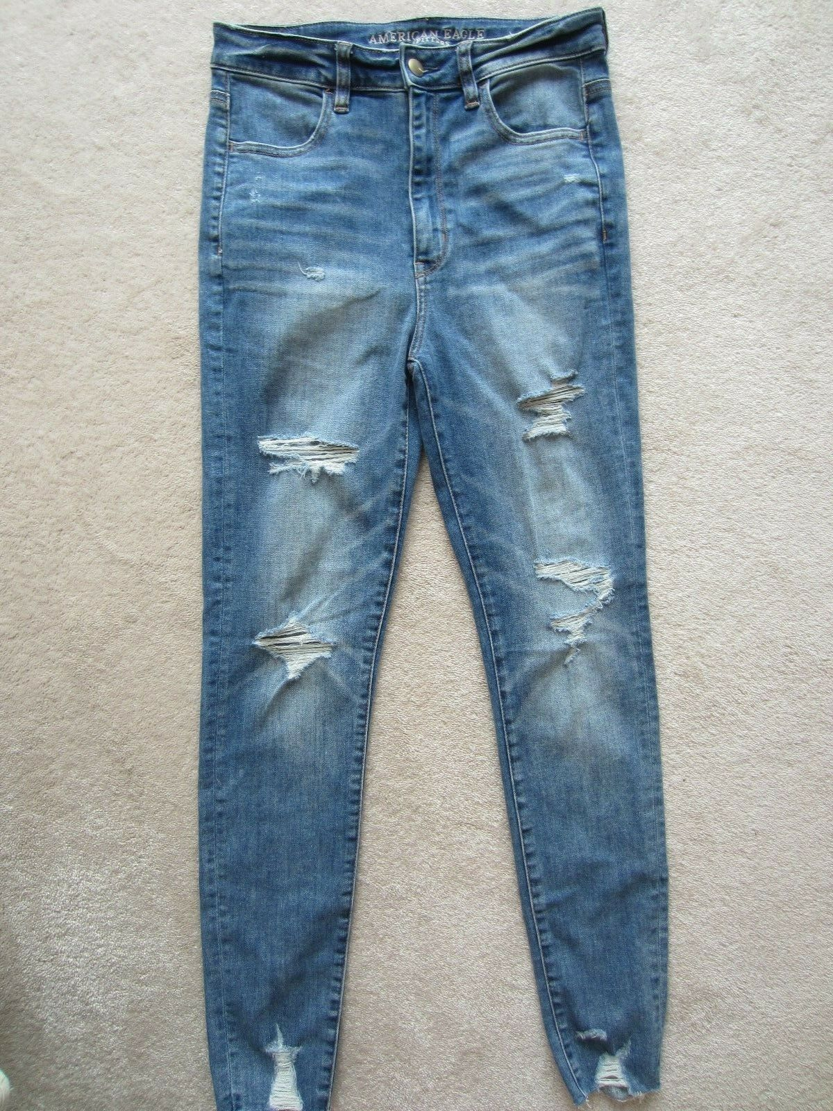 American Eagle AEO Super Stretch DESTROYED SKINNY Highest Rise Jeans Jegging 6
