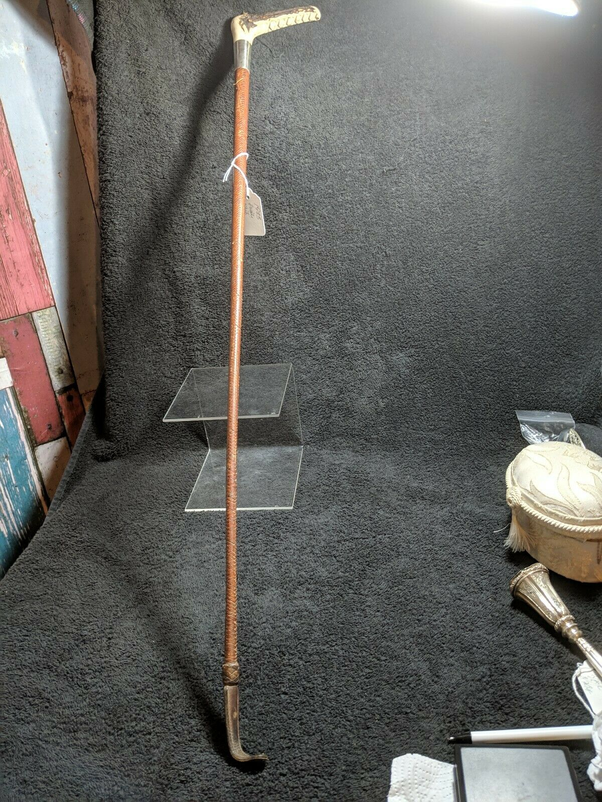 SUPERB ANTIQUE HALLMARKED LEATHER RIDING WHIP CROP 1933