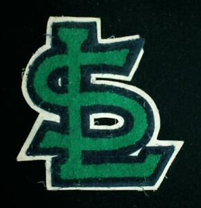 """VINTAGE 1960'S-1970'S SCHOOL LETTERS NAVY AND GREEN PATCH 7 1/2"""" X 8"""""""