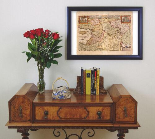 Historic Map of Holy Land with Biblical Scenes; Die Gelegenheit Des Paradeis