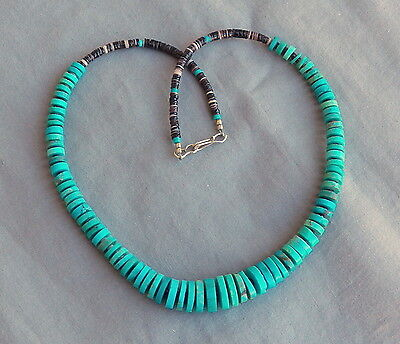 """Native American Blue Turquoise Heishi 10 St Sterling Silver Necklace 19"""" 8872"""