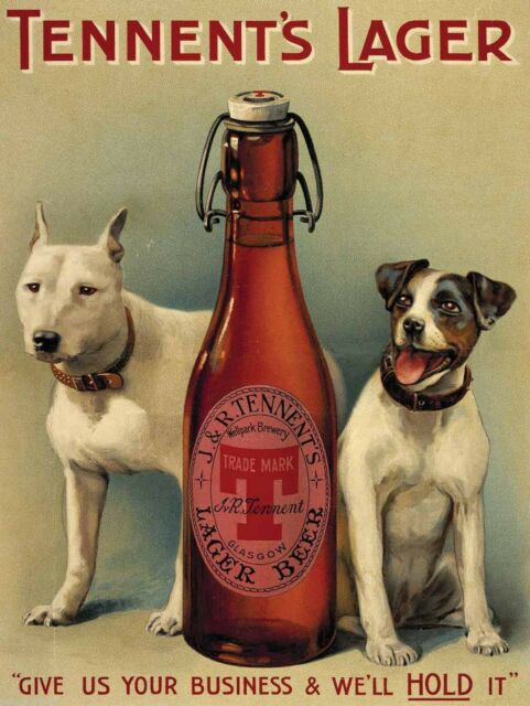 Tennent's Lager Beer, Dogs, Vintage Pub, Bar, Hotel, Beer, Large Metal Tin Sign