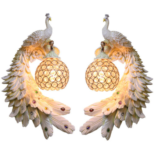 Creative handmade Peacock Nordic bedroom living room wall lamp bird led fixture