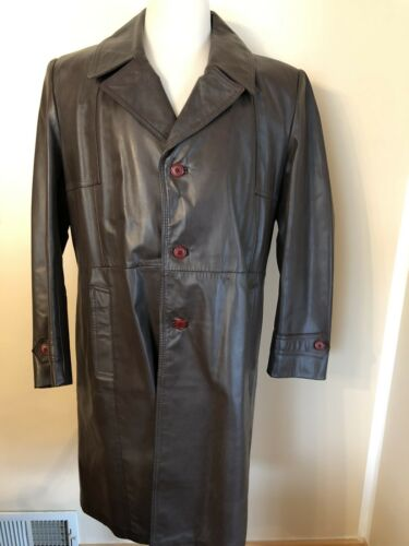 The olde Hide House  Men's leather trenchcoat size