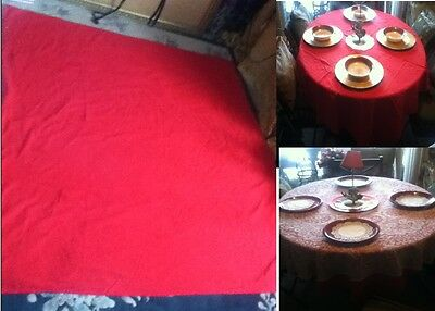 "VINTAGE Tablecloth 59"" LARGE  USA Christmas Valentine Red Square  Fabric Decor"