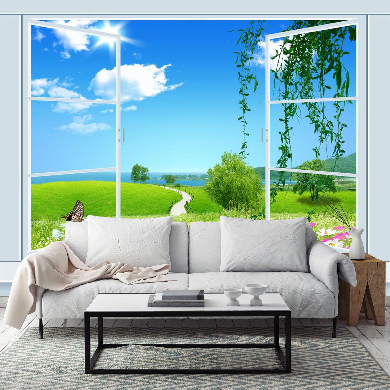 3D Fensteransicht 263 Fototapeten Wandbild Fototapete Bild Tapete Familie Kinder