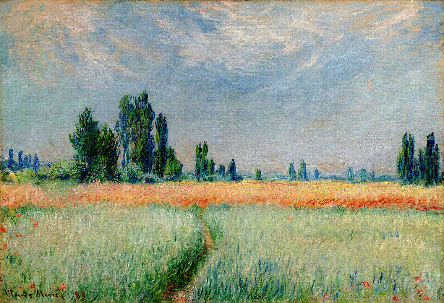 Vintage painting art claude monet artwork wheat field poster canvas framed
