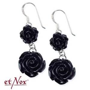 Das Bild wird geladen Gothic-schwarze-Rose-Ohrring-Rosen-Black-Roses-925- 3a2d08f0b1