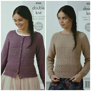 c2a3c00bf10aae Image is loading KNITTING-PATTERN-Ladies-Raglan-Sleeve-Lacy-Cardigan-amp-