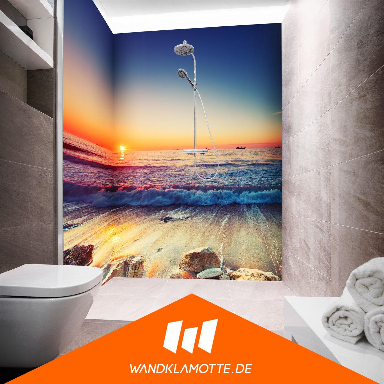 Eck Duschrückwand zwei Platten Alu Bad Dusche Wand Adria Sunset