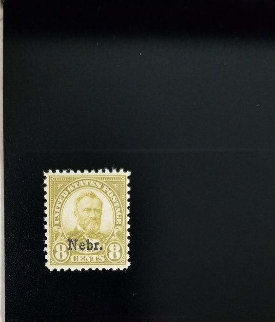 """1929 8c Ulysses S. Grant """"Nebraska Overprint"""" Scott 677"""