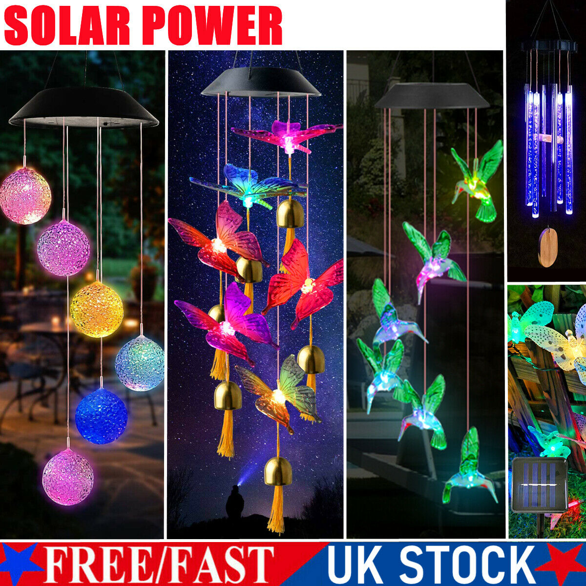 Solar Powered Wind Chime LED Light Garden Hanging Decoration Lamp Outdoor Party
