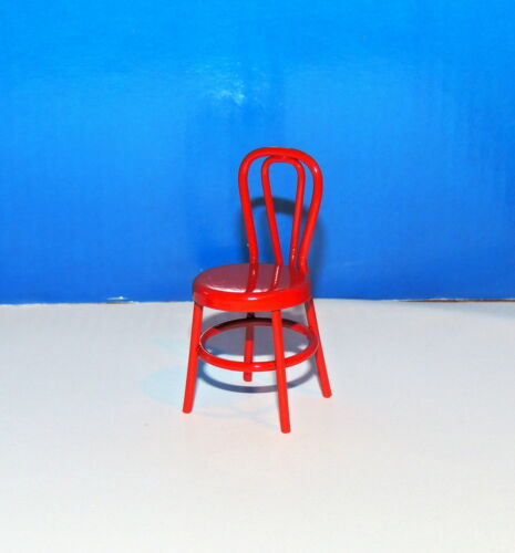 ONE GLOSSY RED METAL CHAIR MINIATURE  1:18 SCALE  2/'/' HIGH NEW !